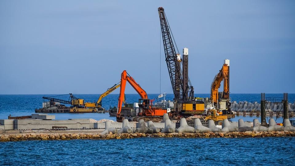 Industry, Crane, Heavy Machines, Sea, Harbor