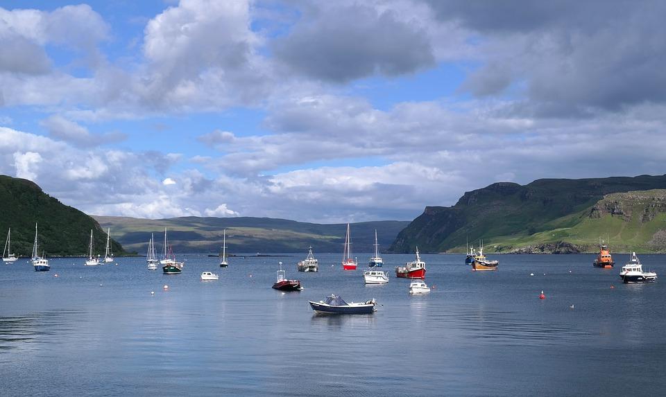 Isle Of Skye, Scotland, Both, Sky, Clouds, Water, Sea