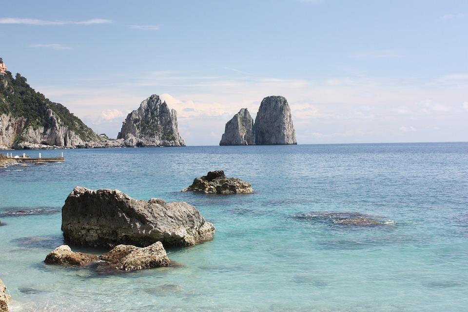 Capri, Sea, Italy, Faraglioni, Horizon