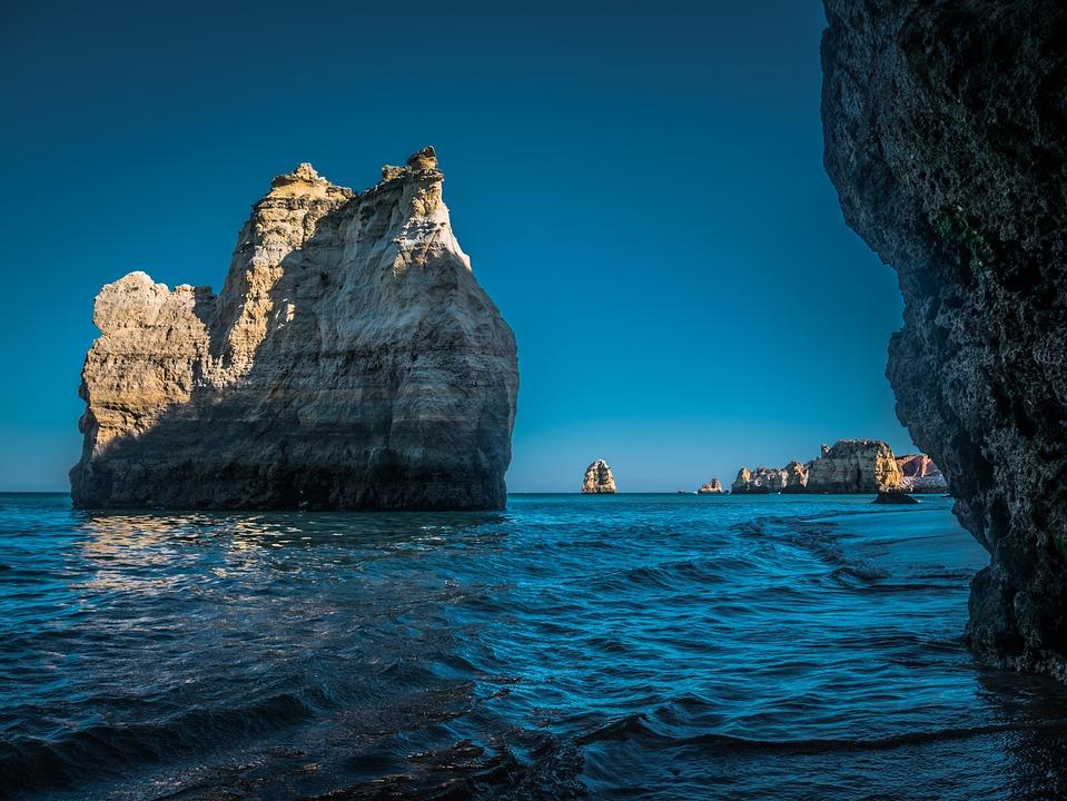 Portugal, Rock, Beach, Sea, Water, Coast, Landscape