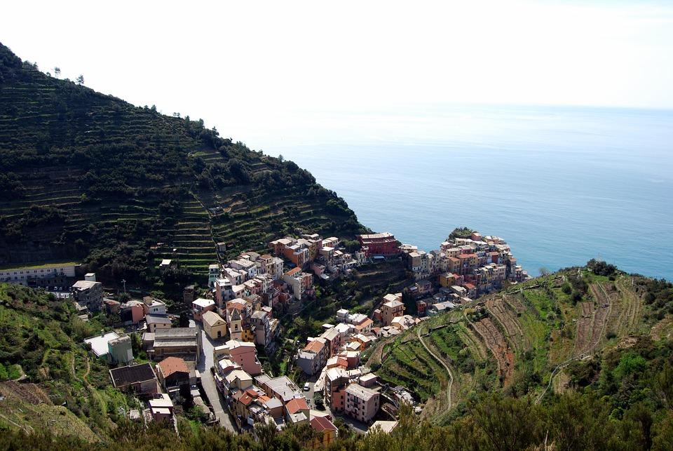 Cinque Terre, Liguria, Houses, Sea, Mountain, Green