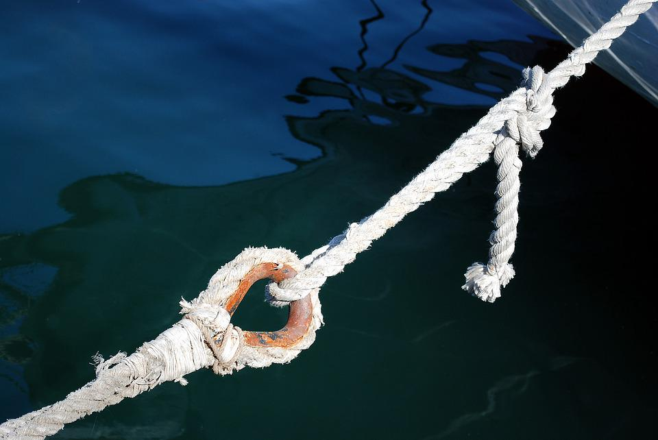 Rope, Sea, Barcelona, Port, Haven, Blue, Binding, Link