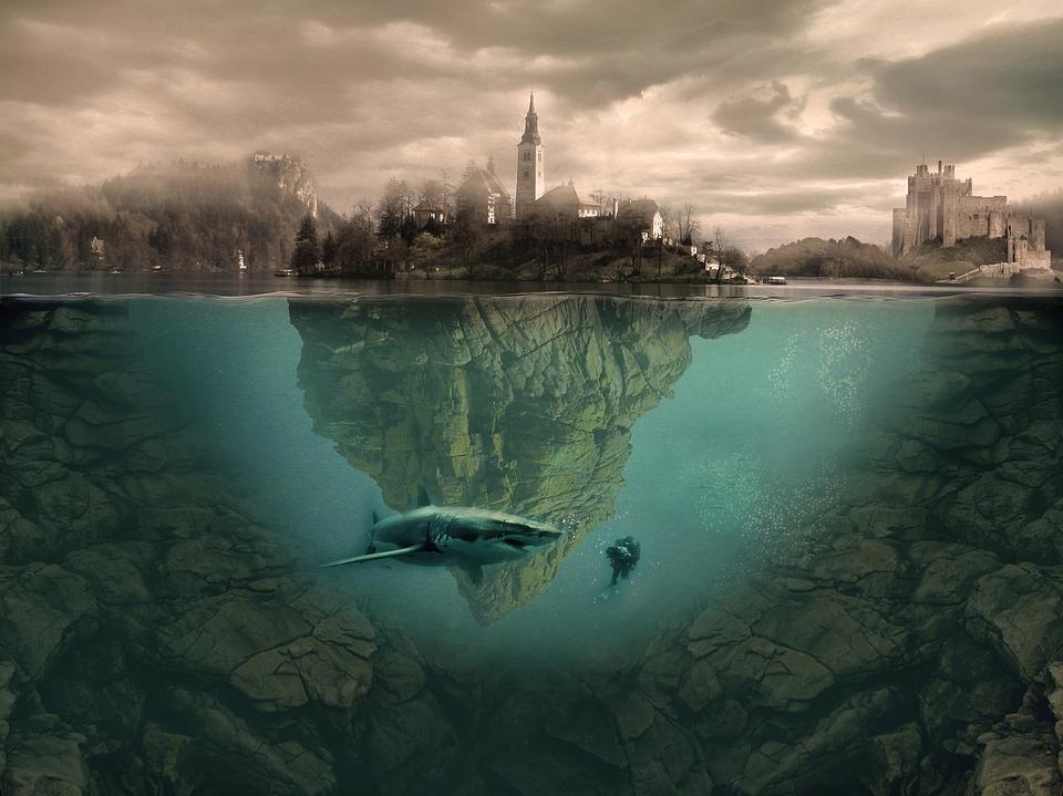 Island, Fantasy, Photoshop, Sea, Shark, Manipulation
