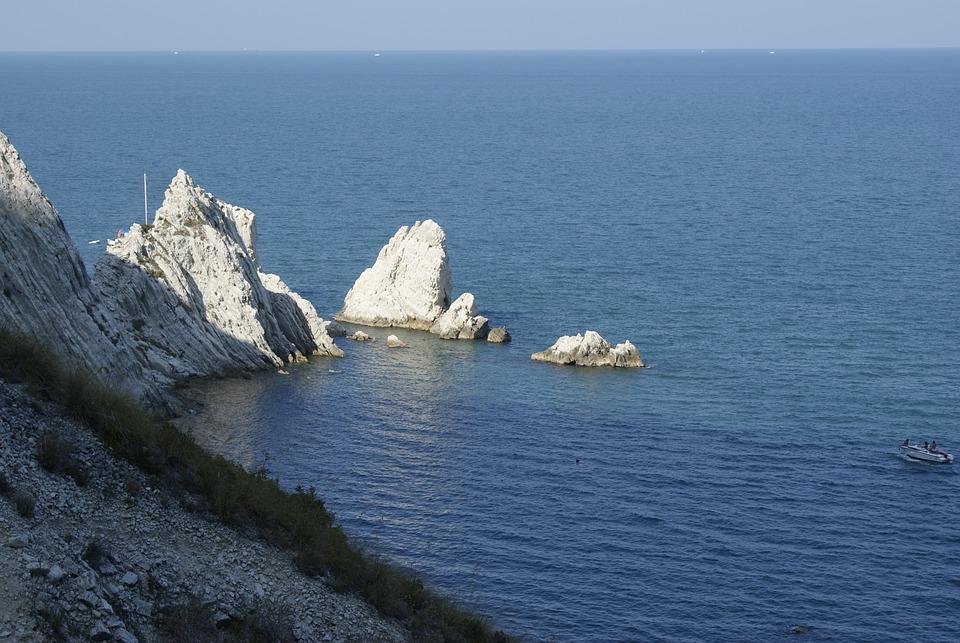 Italy, Conero, Sea, Rock, Due Sorelle, Marche, Ancona