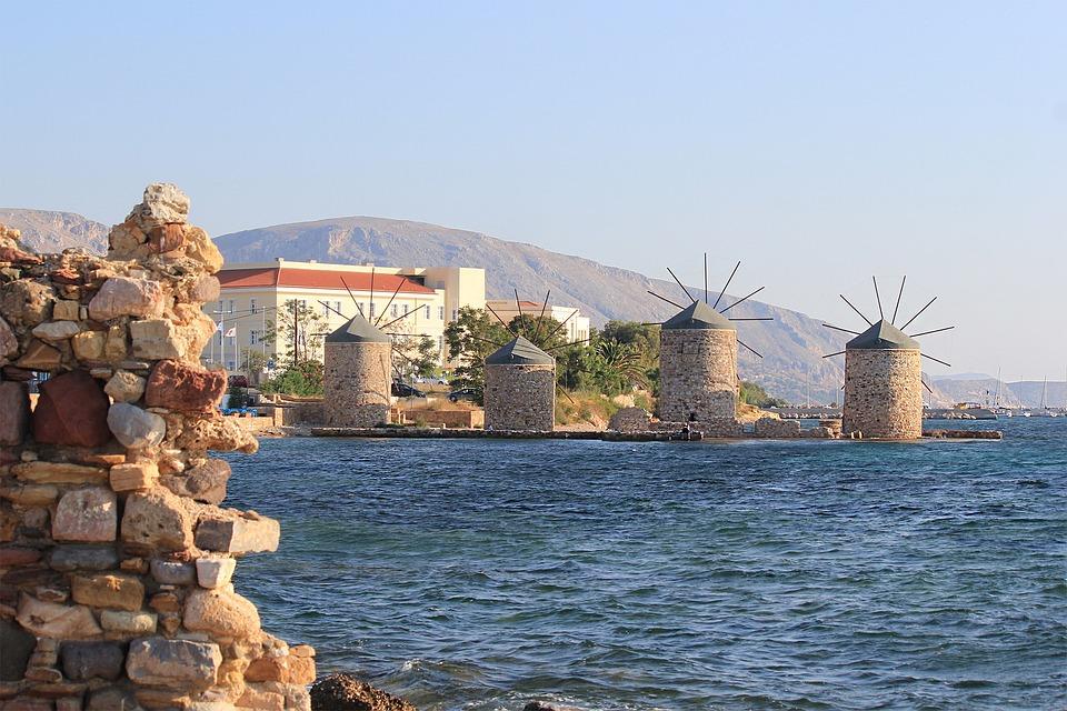Chios, Greece, Windmill, Sea, Marina, Ruins, Holidays