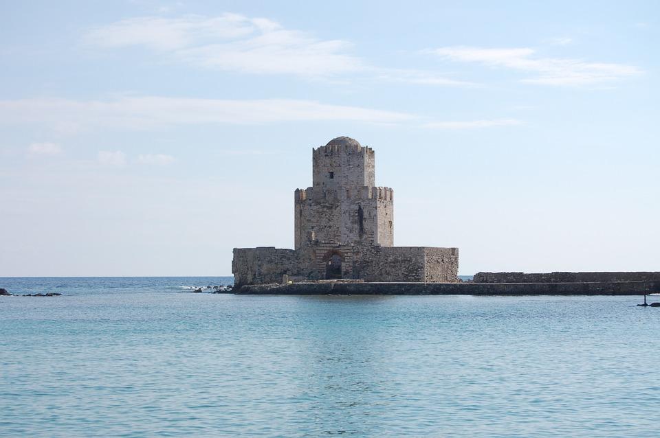 Castle, Methoni Castle, Greece, Coast, Sea