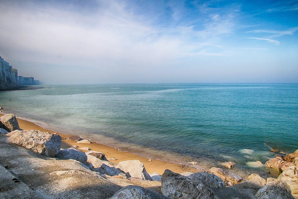 Sea, Ocean, Rocks, Cliffs, Beach, Mist, Baie-de-somme