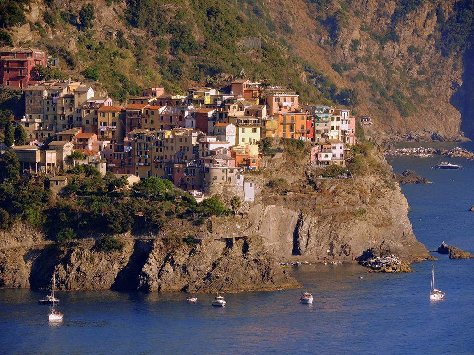 Houses, Mountain, Sea, Corniglia, Colors, Cinque Terre