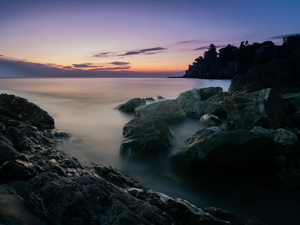 Sea, Water, Nature, Landscape, Sunset, Mist, Fog