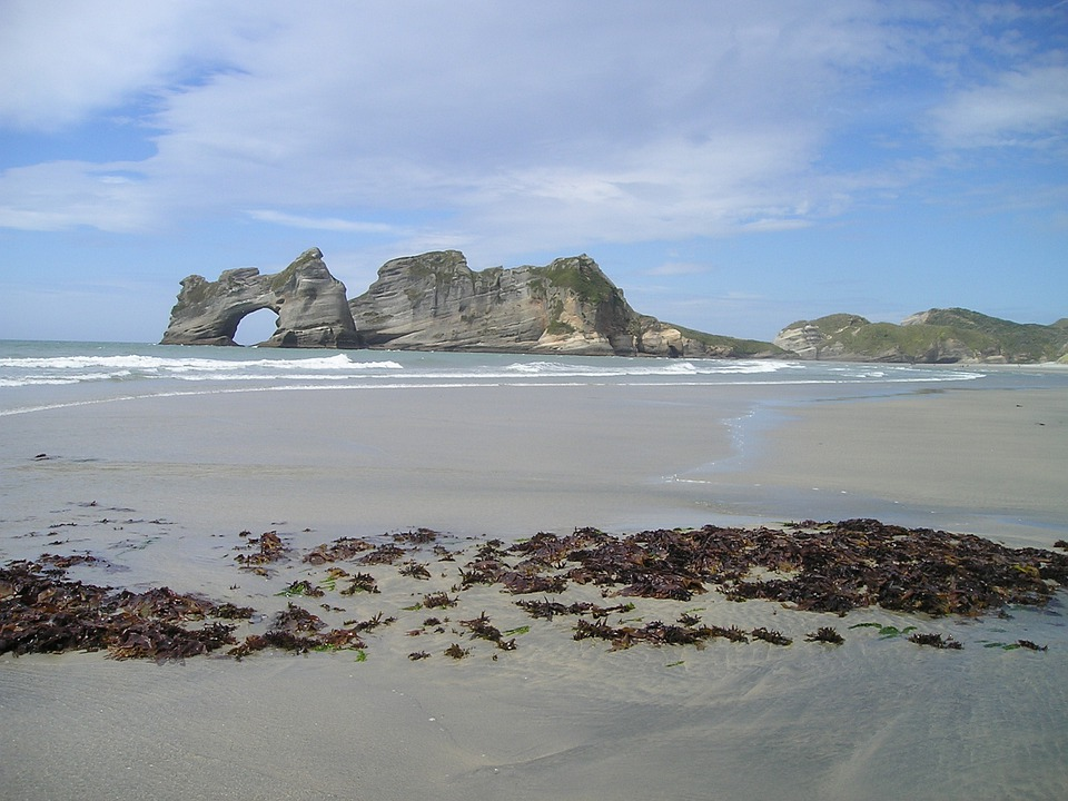 New Zealand, Felsentor, Goal, Sea, Beach, Endless