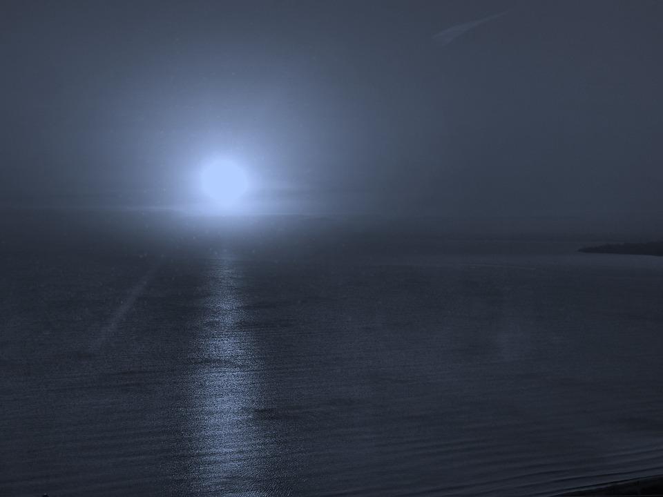 Sea, Moon, Night