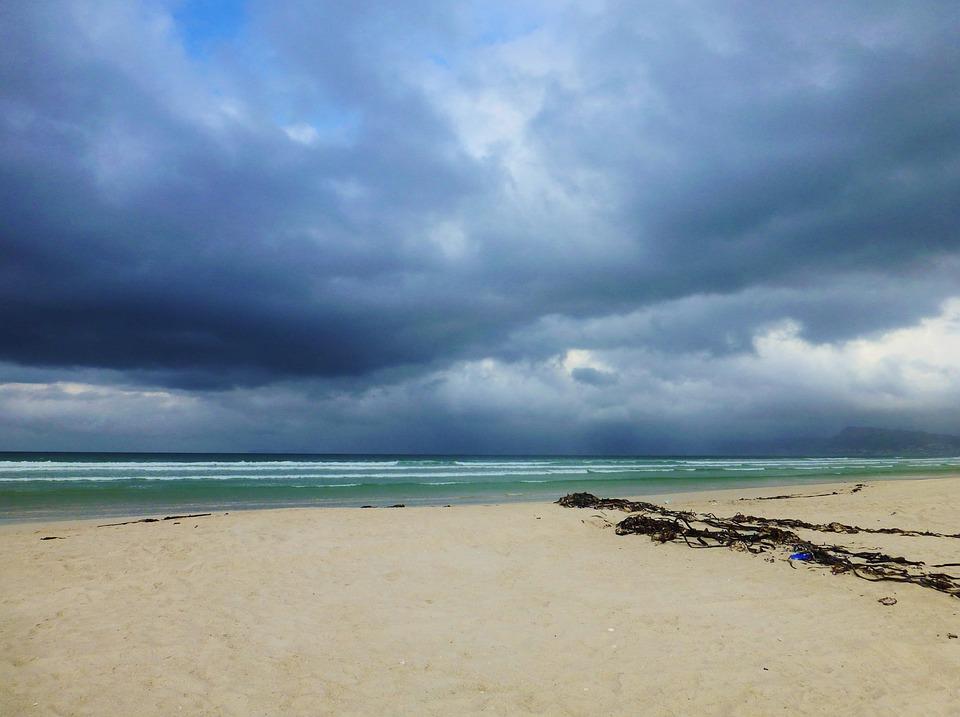 Beach, Sea, Gloomy, Clouds, Ocean