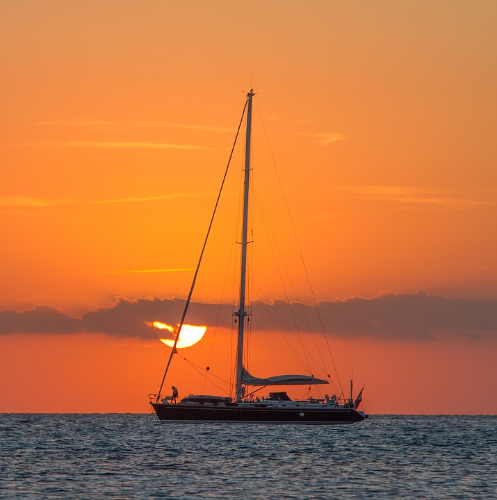 Boat, Dawn, Dusk, Mast, Ocean, Sailboat, Sailing, Sea