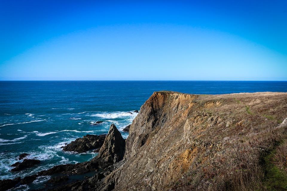 Sea, Ocean, Cliff, Rock Formation, Horizon, Skyline