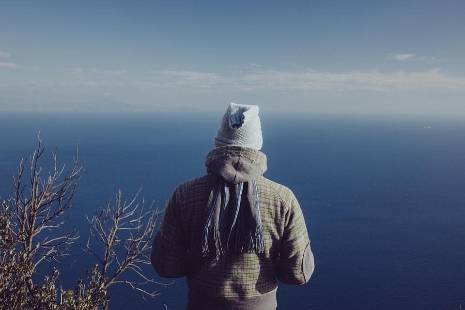 Man, Standing, Watching, Ocean, Viewpoint, Sea, Person