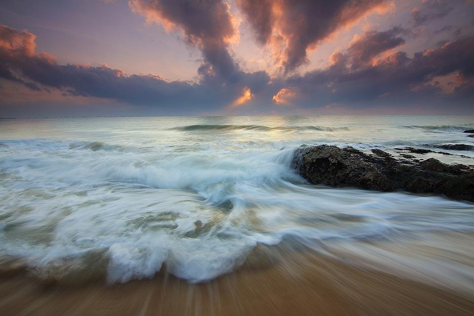 Sea, Waves, Sunrise, Motion, Ocean, Sea Foam, Water