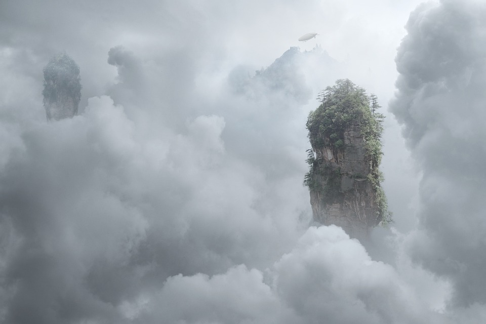 Floating Islands, Clouds, Trees, Cliffs, Sea Of Clouds