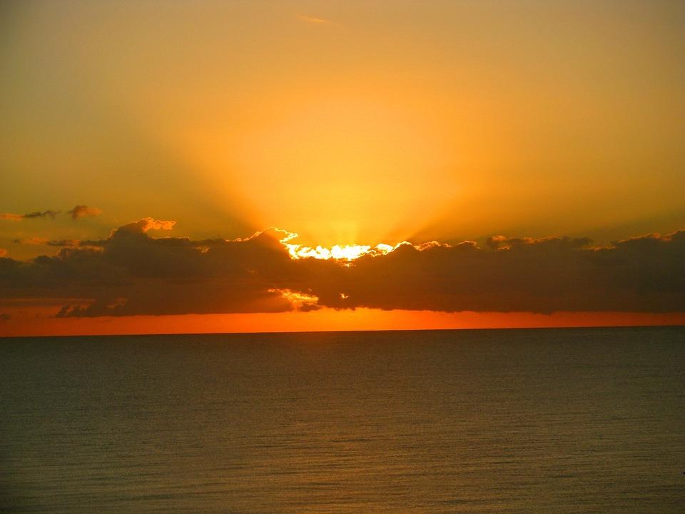Free Photo Sea Orange Sky Ocean Holidays Sunrise Florida Max Pixel