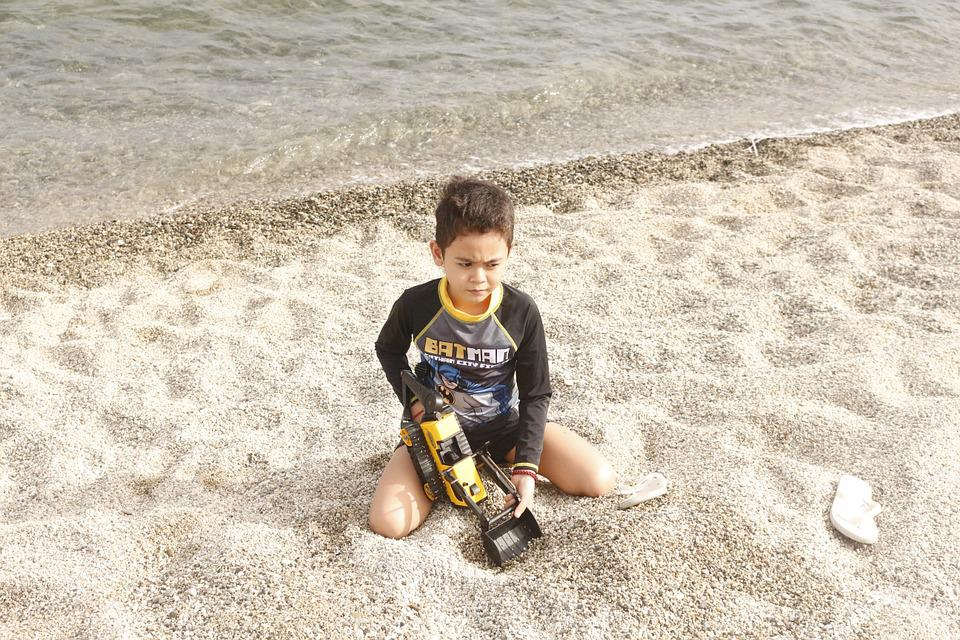Beach, Boy, Summer, Child, Sea, Outdoor, Vacation, Toy