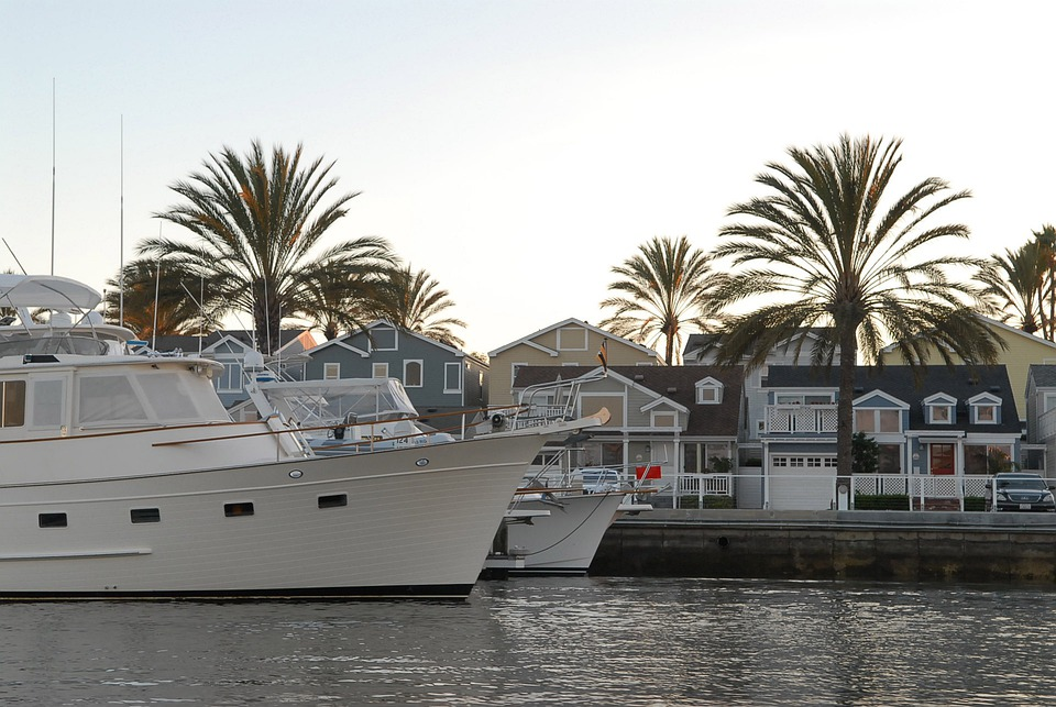 Port, Town, Boat, Yacht, Sea, Palm, House, White