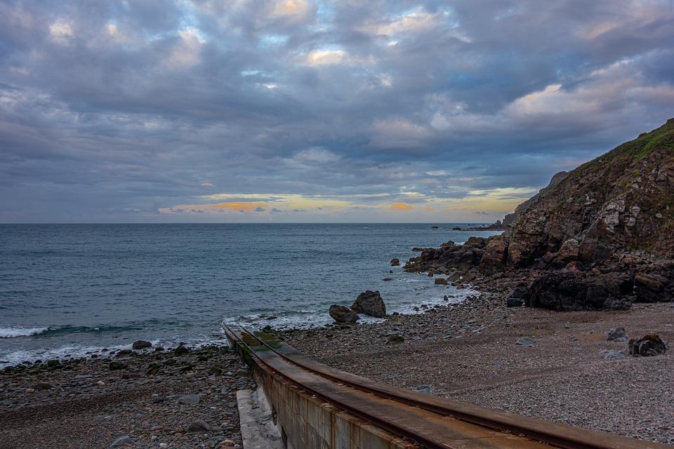 Sea, Shore, Rail, Beach, Path, Line, Sky, Cloud