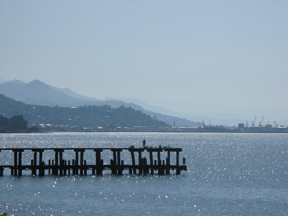 Pier, Georgia, Sea, Blue, Mountains, Haze