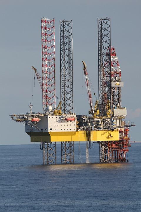 Drilling Rig, Sea, Platform, Crane, Distant, Technology