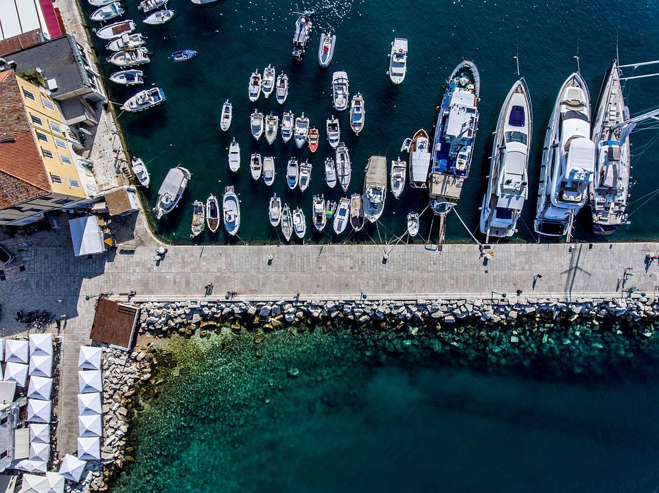 Port, Boat, Boats In The Harbor, Anchorage, Sea, Blue