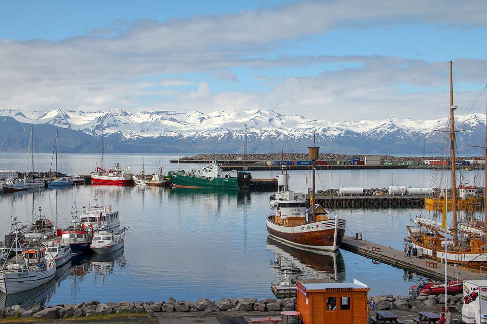 Husavik, Iceland, Port, Boats, Landscape, Ship, Sea