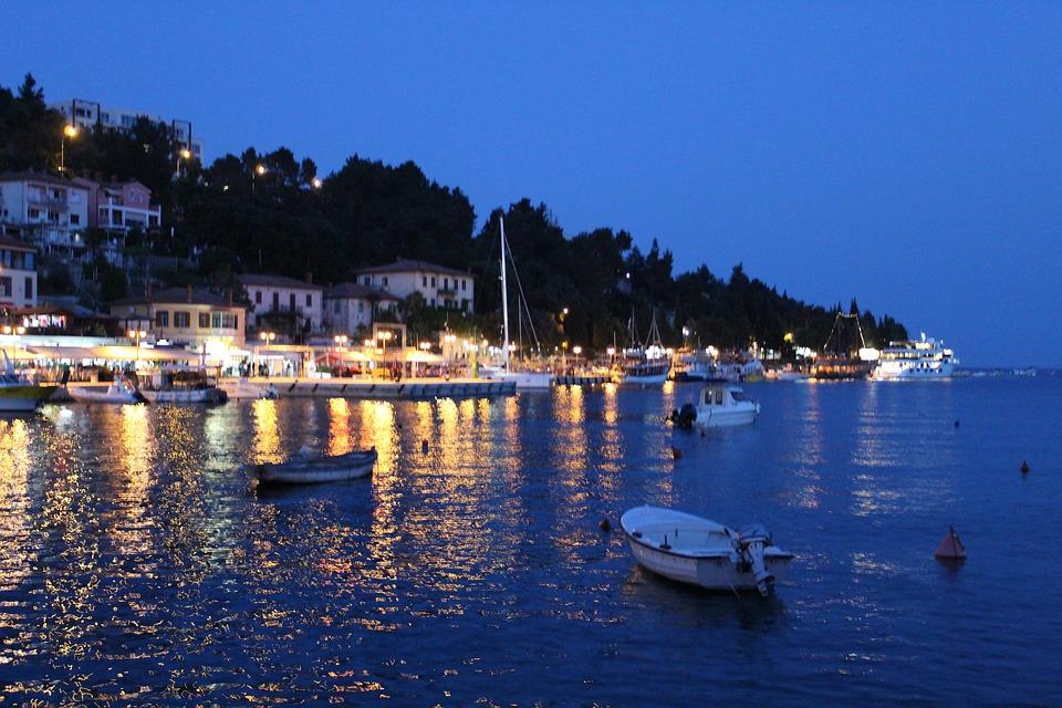 Port, Boats, Town, Evening, Sea, Ocean, Coast, Lights
