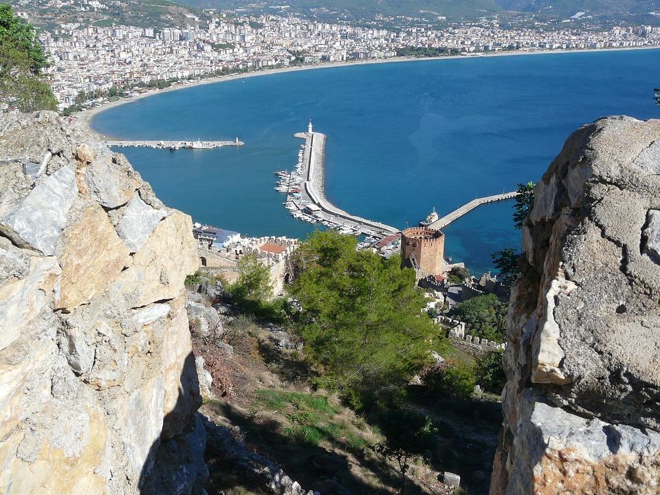 Alanya, Turkey, Port, Red Tower, Sea, Coast