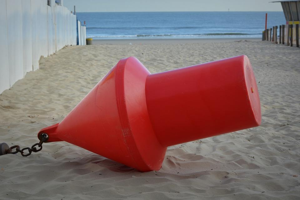 Buoy, Red Buoy, Sea, Beach
