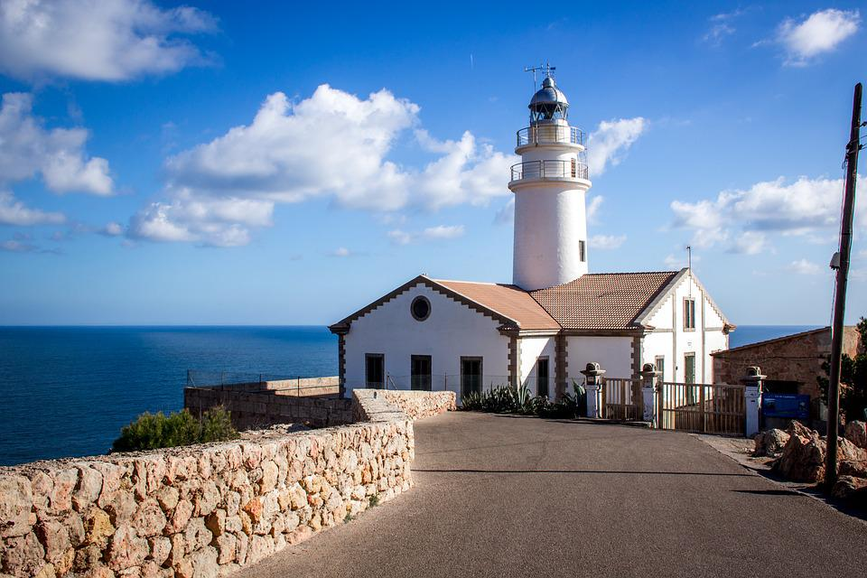 Lighthouse, Sea, Cliffs, Water, Away, Road, Coast, Blue
