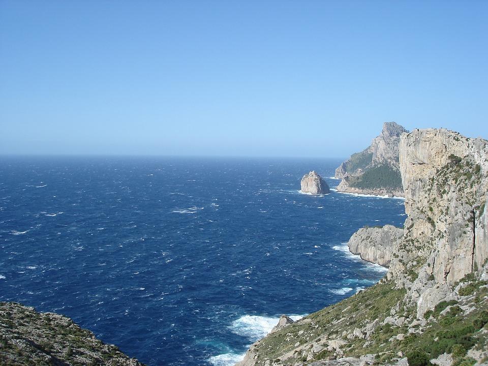 Cliff, Rock, Sea, Have, Mallorca, Creveta La, View