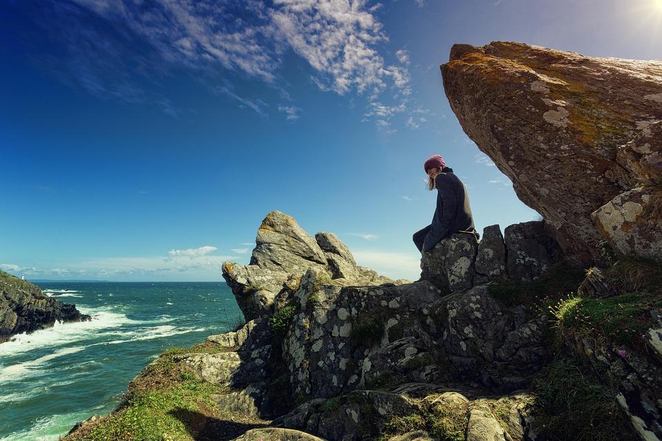 Coast, Rock, Person, Woman, Sea, Landscape, Ocean, Bay