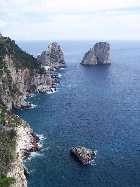 Coastline, Capri, Rocky Coastline, Sea, Mediterranean