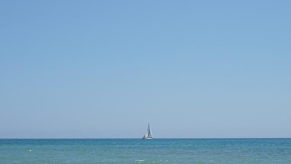 Sailboat, Sea, Mediterranean, Horizon, Sailing, Boat