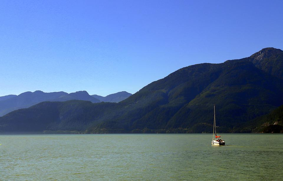 Mountains, Sea, Sailboat, Boat, Sailing, Water, Nature