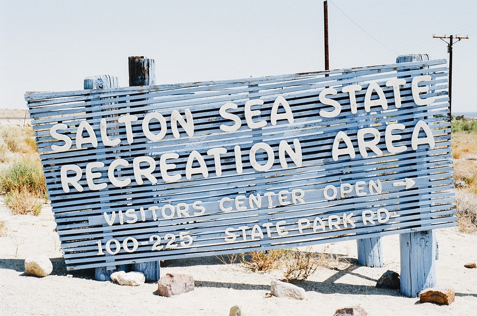 Salton, Sea, Sign, Sand, Beach