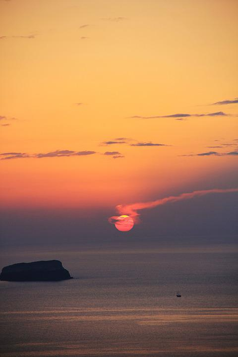 Sunset, Santorini, Sea, Romantic, Abendstimmung, Greece