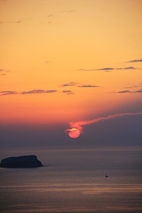 Sunset, Santorini, Sea, Romantic, Abendstimmung, Greece