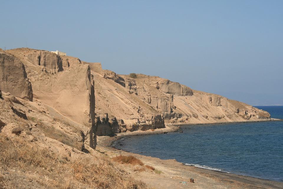 Greece, Santorini, Cyclades, The Coast, Landscapes, Sea