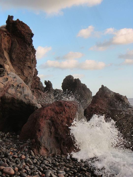 Rocks, Sea, Sicily, Aeolian Islands, Salina, Beach