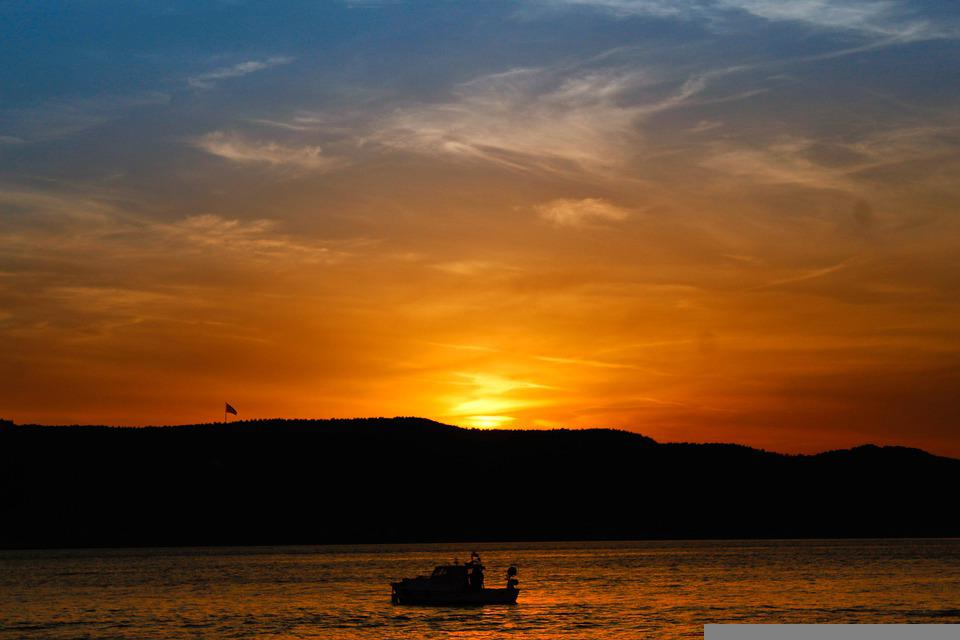 Sunset, Sea, Mountains, Silhouette, Boat, Ocean