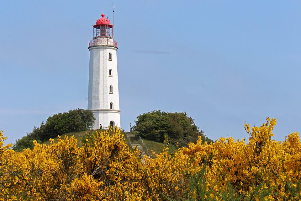 Lighthouse, Coast, Tower, Sea, Sky, Water, Hiddensee