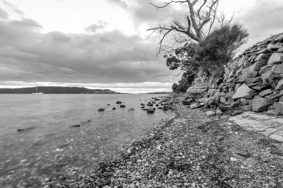 Australia, Tasmania, Snug, Bay, Beach, Sky, Sea, Nature
