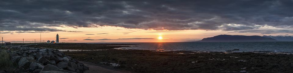 Panorama, Sunset, Iceland, Sky, Sea, Clouds, Lighthouse