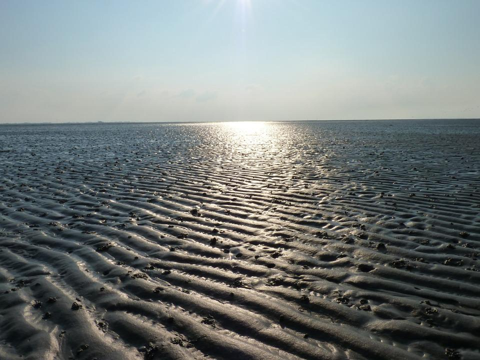 Watts, Sunset, North Sea, Sea, Wadden Sea, Sky, Ebb