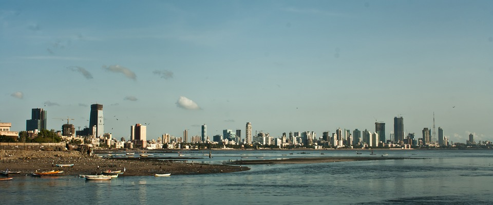 Mumbai, Bombay, Skyline, Bay, Ocean, Sea, India, City