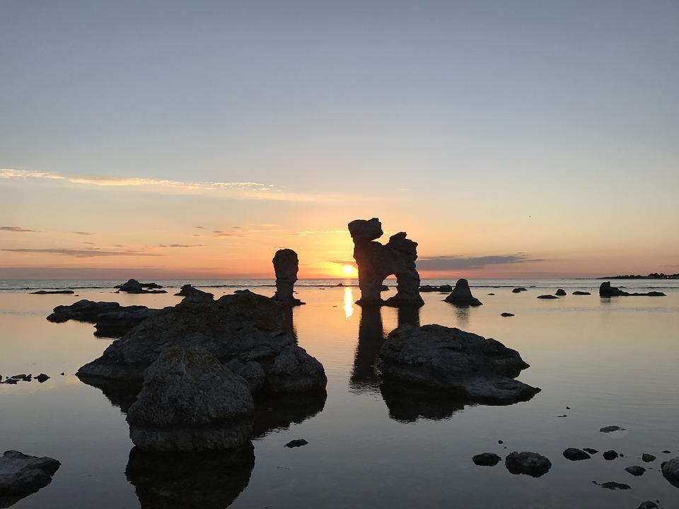 Sea Stack, Old Harbor, Gotland, Sunset